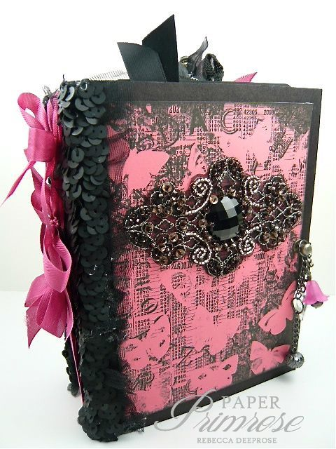"Rebecca Deeprose as Paper Primrose making a chunky mini album with Tsunami Rose's ""Monochrome Pink and Black Journal Kit""; Jan 2014"