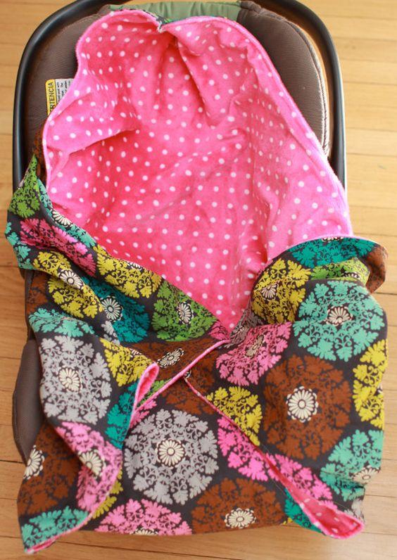 Hooded infant car seat blanket by KDsquared on Etsy, $42.50