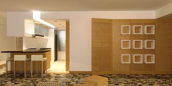 Cocina integrada en remodelación de apartamento en Altamira - rra arquitectura