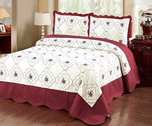 Home Must Haves Set Bedspread Bed Cover Quilt Cream King Burgundy Bed Quilt Cover Bed Spreads Bed Covers