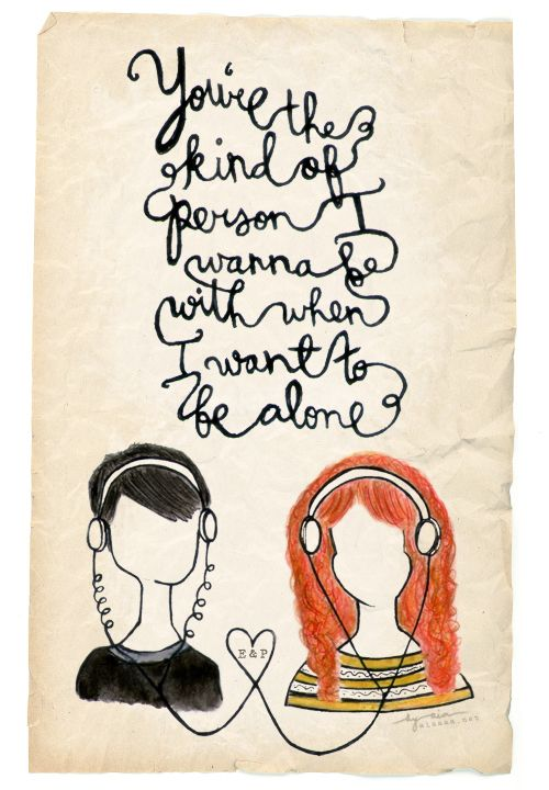 "4th Annual End of Year Book Survey | Whispers of a Barefoot Medical Student - I love this fanart of Eleanor & Park! ""You're the kind of person I wanna be with when I want to be alone."":"