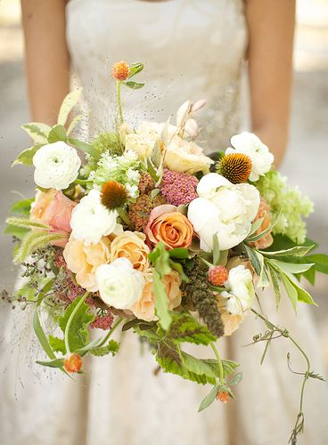 A lovely bouquet with wildflowers. -- love the idea of wild flowers, especially for a mountain wedding.: Loose Bouquet, Flower Bouquets, Wildflower Bouquet, Wedding Flowers, Peach Bouquet, Mountain Wedding