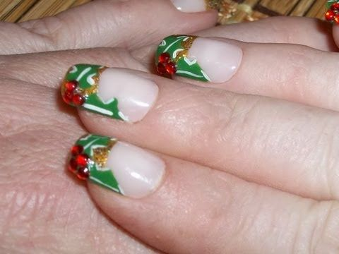 Holly Leaves Christmas Nail Art Tutorial (Finger Nails Edition) 2012