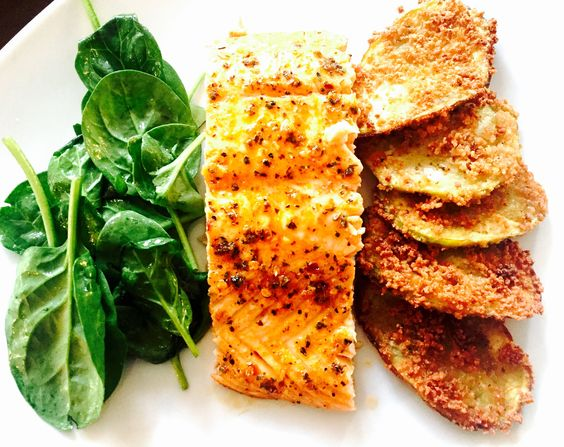 Baked salmon with breaded eggplant and spinach salad