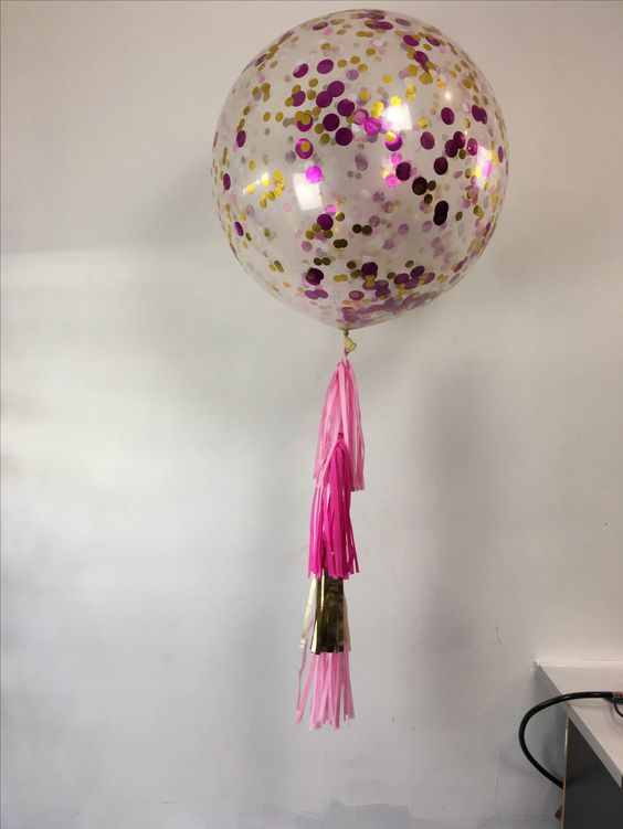 3ft latex clear balloon filled with pink, gold confetti and tassels: