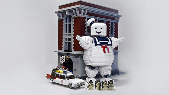 Ghostbusters LEGO set, with Stay Puft Marshmallow Man added