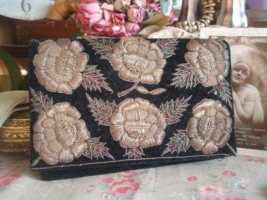 Stunning Vintage Metallic Embroidered Velvet Evening Clutch Bag Christmas Flower