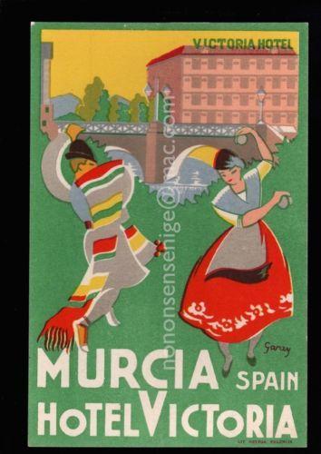 SPAIN-MURCIA-HOTEL-VICTORIA-COUPLE-DANCING-Garay-ARTIST-ADVERT-POSTCARD-SP07