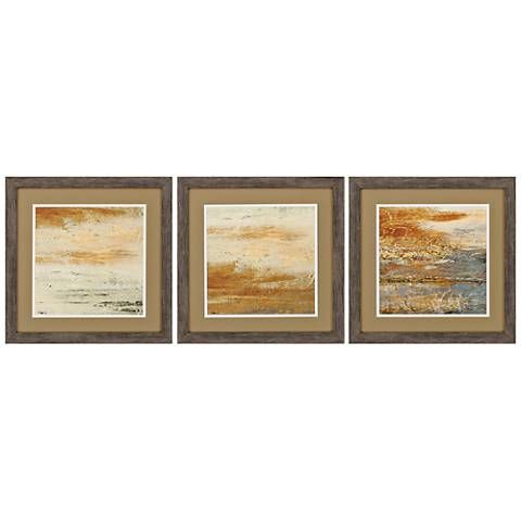 Sienna Abstract 3 Piece 18 Square Framed Wall Art Set 1h925 Lamps Plus Wall Art Sets Small Framed Art Square Frames Wall