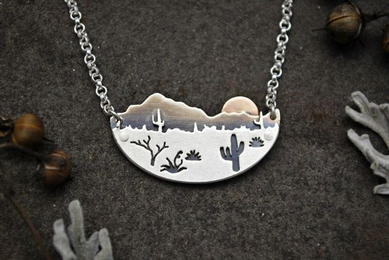 Desert Sunrise Necklace - Arizona Cactus Landscape Pendant - Silver and 14K Gold Metalwork - Contemporary Southwestern Jewelry - Mixed Metal by GatherAndFlow on Etsy https://www.etsy.com/listing/272165488/desert-sunrise-necklace-arizona-cactus