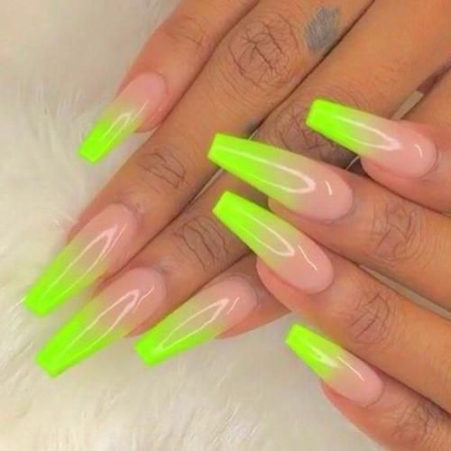 Acrylic Nails Coffin Square Acrylic Nails Ombre Acrylic Nails Neon Green Nails