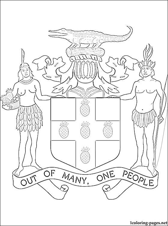Jamaica Coat Of Arms Colouring Page Coat Of Arms Coloring Pages Arms