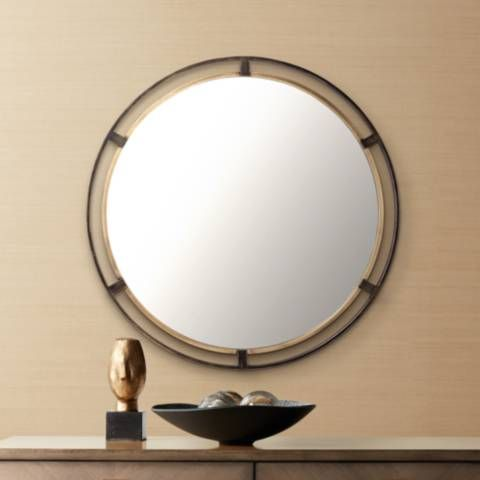 Uttermost Crest Bronze And Gold 34 Round Wall Mirror 42a41