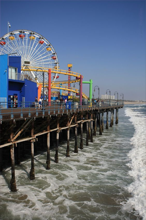 Having a great time at Santa Monica Pier - wide beaches - Los Angeles, LA, California, USA