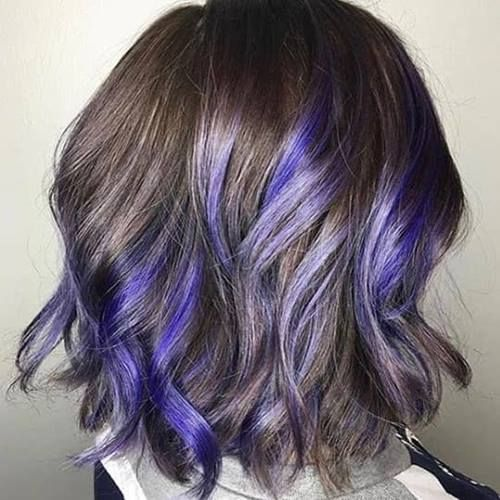 40 Photos That Will Make You Want Purple Highlights Now Purple Hair Highlights Purple Highlights Blonde Hair Purple Highlights Brown Hair