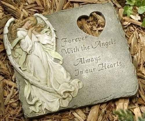 "10"" Joseph's Studio Memorial Angel Outdoor Garden Stepping Stone by Roman. Save 8 Off!. $22.99. From the Joseph's Studio Garden Statuary CollectionA unique sentiment for the memorial of a loved oneFeatures a peacefully sleeping angel and a cut out heart designReads: ""Forever with the Angels, Always in our Hearts""Comes ready-to-hang if you prefer to use as a wall plaqueDimensions: 8.75""H x 10""W x .75""DMaterial(s): resin/stone mix"