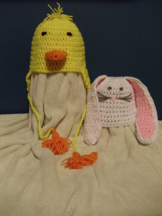 Crochet Baby Bunny or Duck Hat by VioletWillowCrafting on Etsy, $16.95