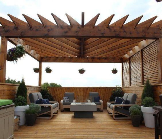 ideas outdoor living decor rooftop patio bar pergolas design ideas