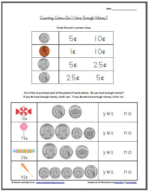 worksheets kindergarten and coins on pinterest. Black Bedroom Furniture Sets. Home Design Ideas