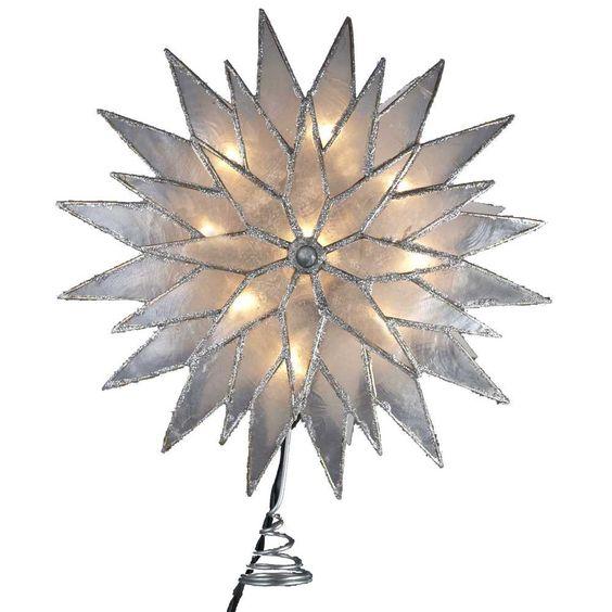 Amazon.com - Kurt Adler 9-Inch Sunburst Capiz Lighted Treetop with Silver Glittered Finish - Christmas Tree Toppers