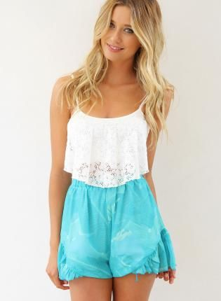 White Lace Crop Top #summer #tanktop #crochet Tops Pinterest
