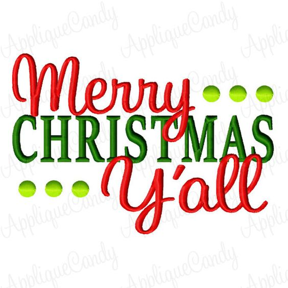 Merry Christmas Y All Machine Embroidery Design 4x4 5x7