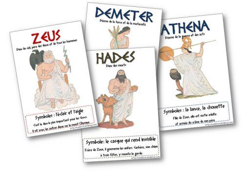 "Mythologie - affiches ""dieux de l'olympe"""