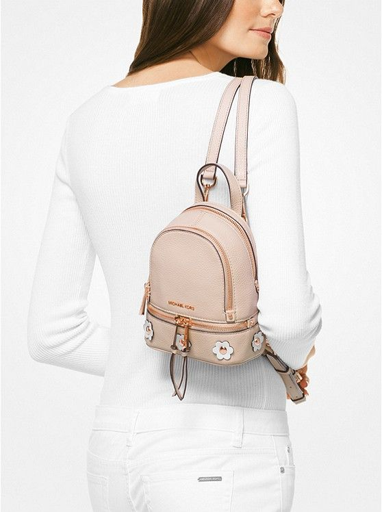 MICHAEL Michael Kors Rhea Mini Floral Applique Leather Backpack Pink