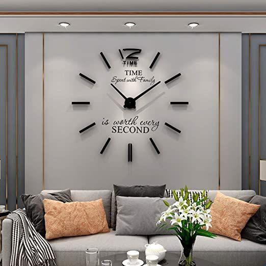 Yijidecor 3d Diy Wall Clock For Living Room Decor Acrylic Mirror Sticker Large Wall Clocks Battery Operated Modern Diy Wall Clock Living Room Decor Room Decor