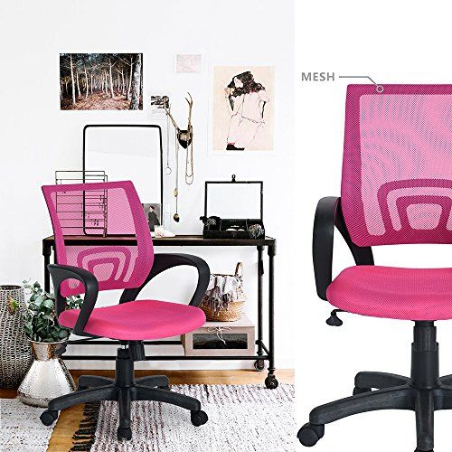 HOMY CASA Fabric Office Chair MidBack Mesh Padded Swivel Desk Chair for Home Office
