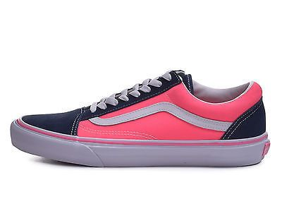 Vans Old Skool Dress Blues Neon Pink Classic Low Top Shoes 7.5