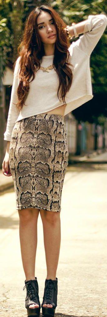 Love the snake-print Pencil Skirt <3