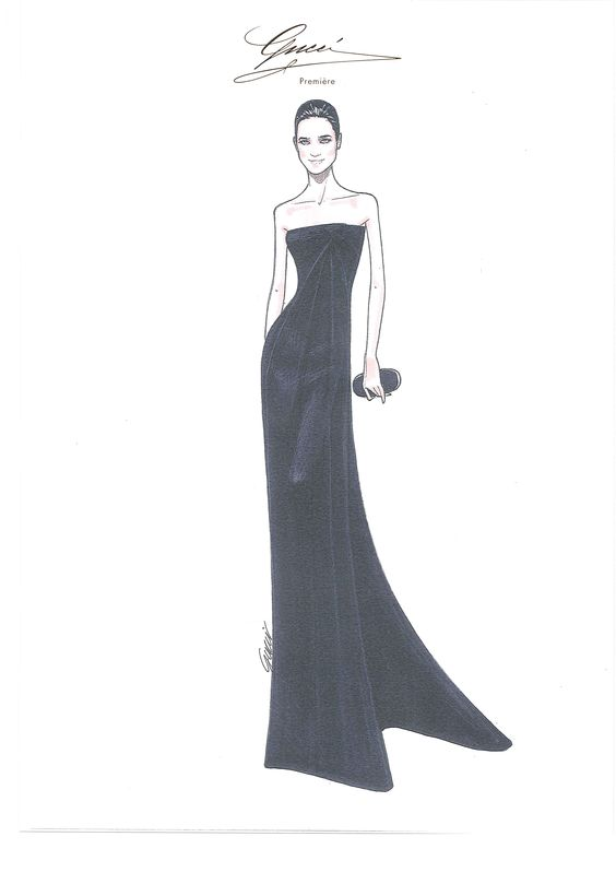 Lights, Cannes, Action: Red Carpet Style  Jennifer Connelly at the 65th Cannes Film Festival - Sketch by Gucci