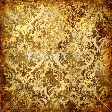 Vintage decorative background in grunge style with golden patterns