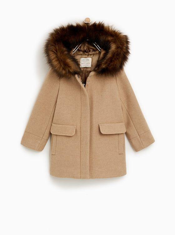 Zara Kids Duffle Coat With Faux Fur Hood Jungen Herbstmode Mantel Kinder Mantel