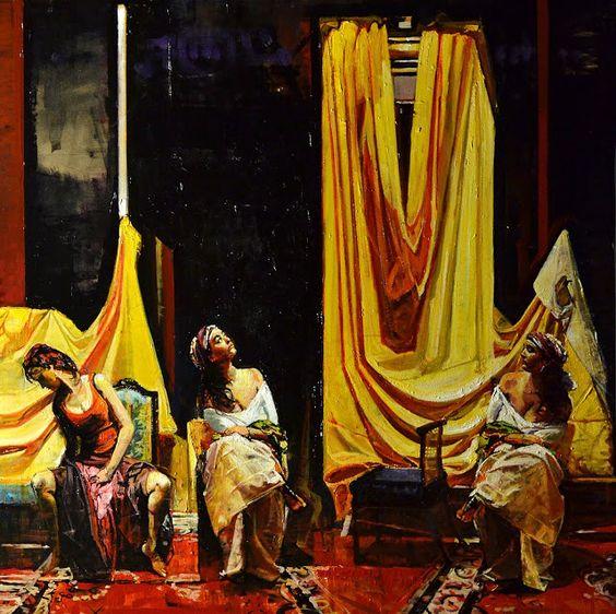 """ORTOLAN"""" Las Gitanas """" oleo sobre tabla - 80 x 80 cm"""
