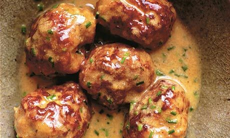 Sausage balls, mustard and cream sauce by Nigel Slater