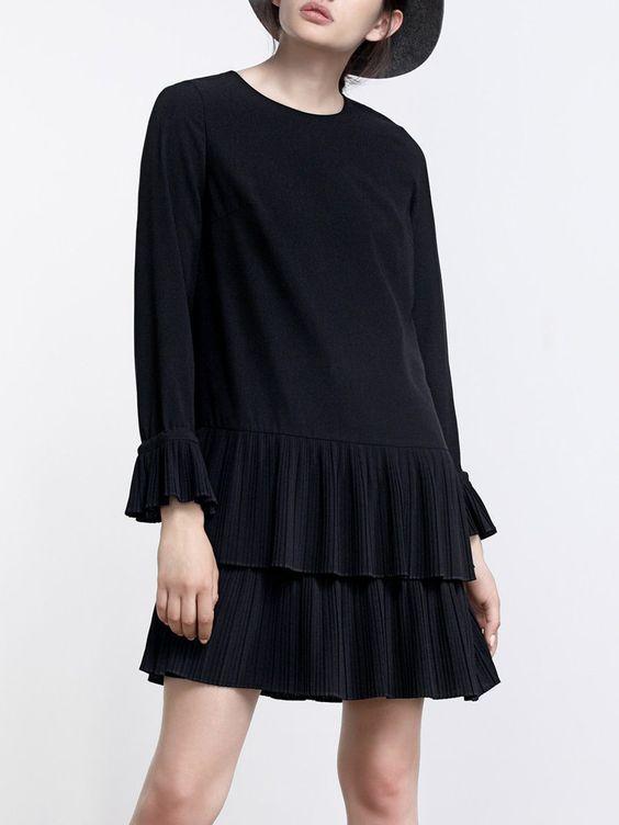 #AdoreWe #StyleWe Dresses - Moonbasa Lady Black Long Sleeve Flounce Pleated Mini Dress - AdoreWe.net