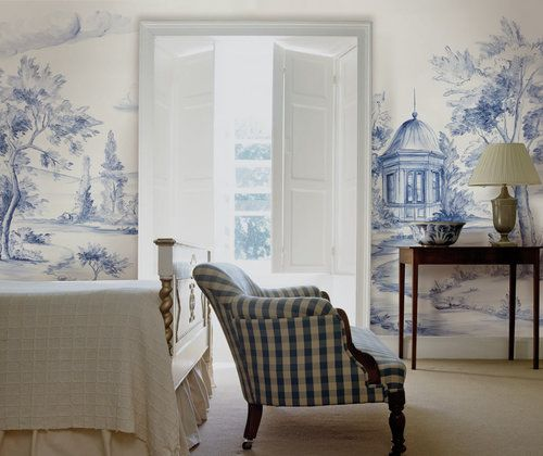 COME ENJOY Peaceful Timeless Trompe-l'oeil Wall Murals to Inspire! #delftblue #wallpaper