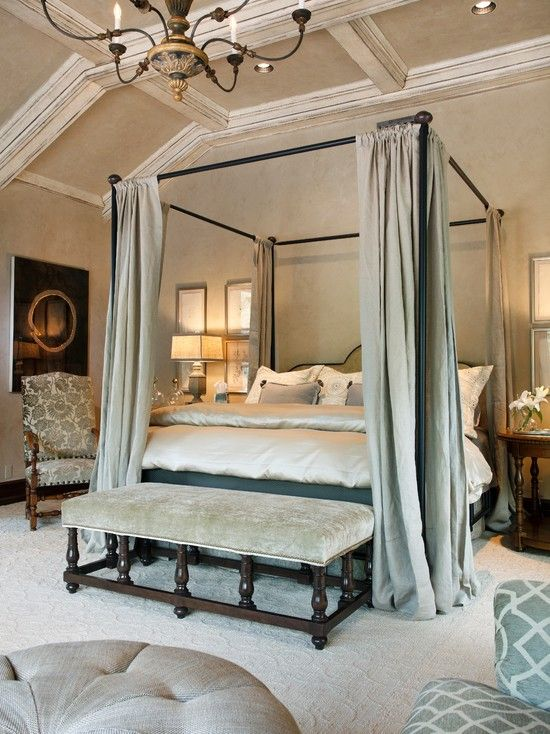 Get Best Bedroom With Italian Furniture Elegant King Size Canopy Bed Also Light Gray Curtain