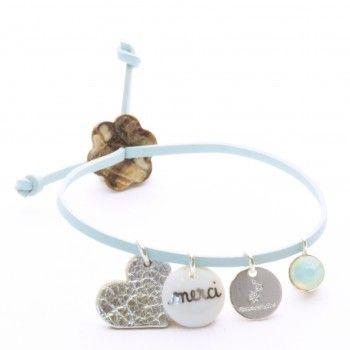 Bracelet en cuir jade Cadeau de la Maîtresse - Flowers For Zoé