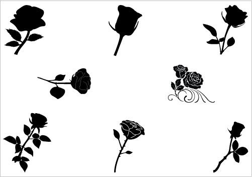 roses silhouette vector download rose vector silhouette | nature