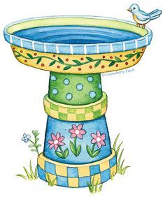 Create a birdbath from Painted terra cotta pots and an an oversized tray! :D Lovely! - @Gooseberry Patch