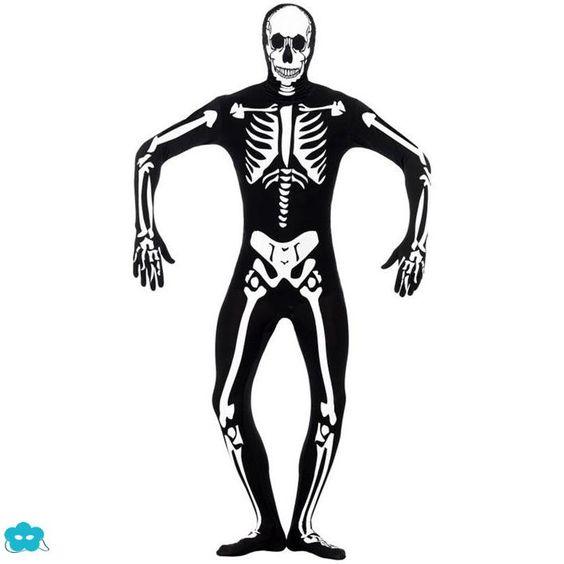 Disfraz segunda piel esqueleto brillante  en la oscuridad