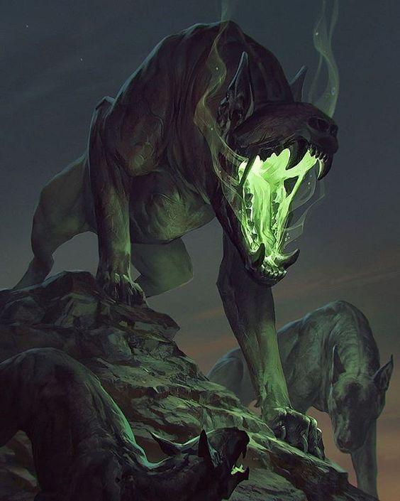 ð??¹ï¸The Beast - Gwent Cardð??¹ï¸#gwent #thronebreaker#hellhound #barghest #beast #dog #demon #witcher #fantasy #green #glow