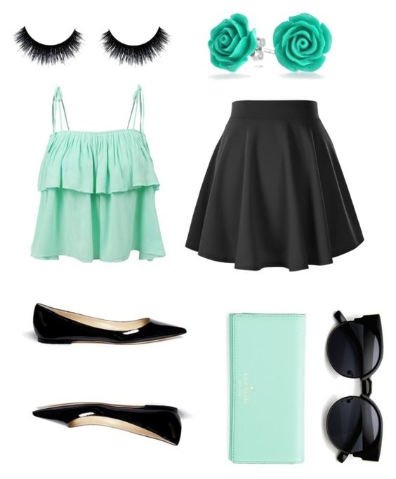 """""""Mint chip"""" by leyna-yost ❤ liked on Polyvore featuring beauty, LE3NO, Jimmy Choo, Kate Spade and Bling Jewelry"""