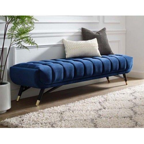 Mid Century Deep Tufted Blue Velvet Extra Long Bench Upholstered Bench Living Room Living Room Bench Velvet Furniture