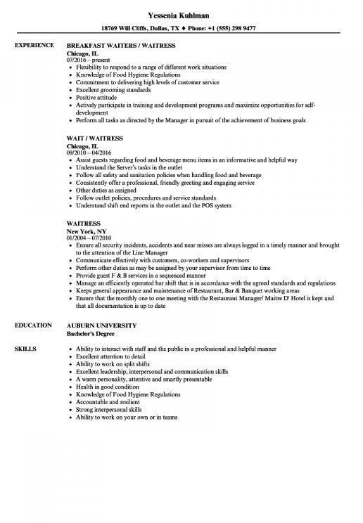 Resume Experience Examples For Waitress There Are Roughly Two