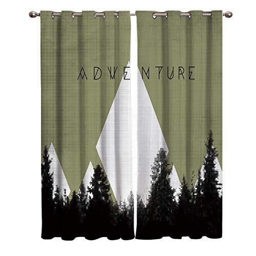 Wanxinfu 2 Panel Kitchen Cafe Curtains Outdoor Forest Adventure