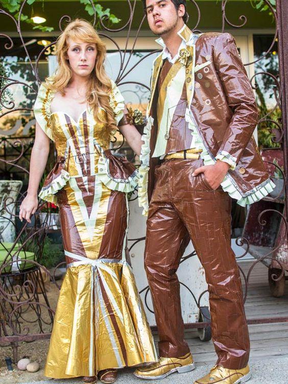 25 costumes de bal entièrement en ruban adhésif !